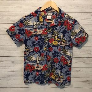 Disney Parks Blue Mickey Luau Short Sleeve Shirt L